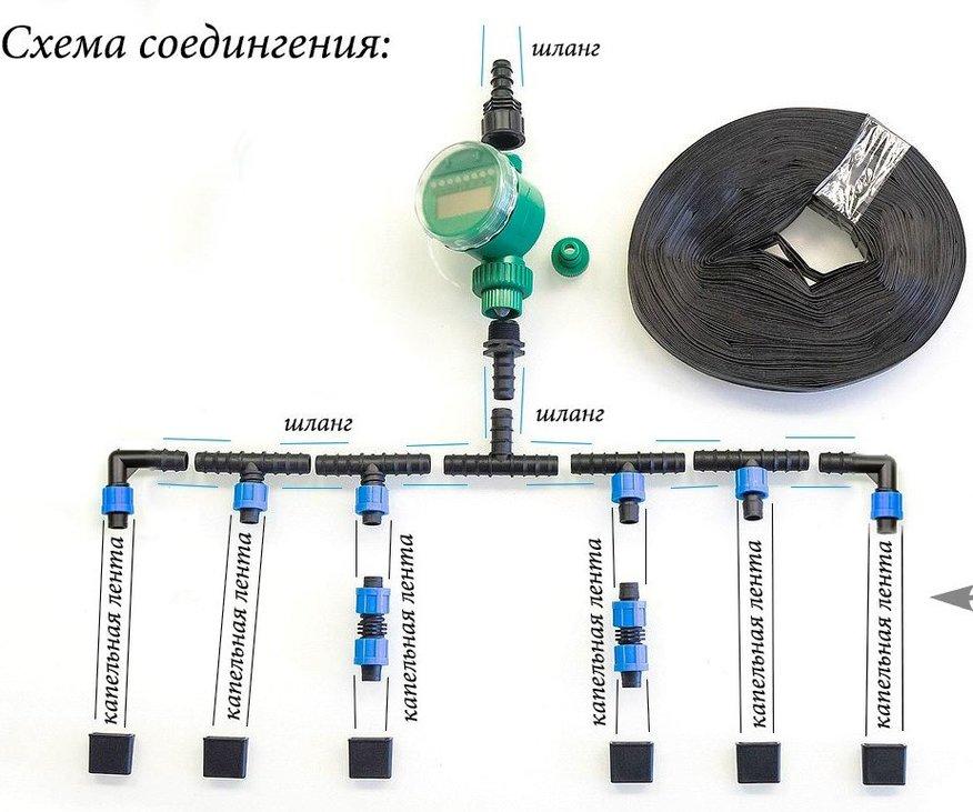 схема капельного полива из бочки с таймером